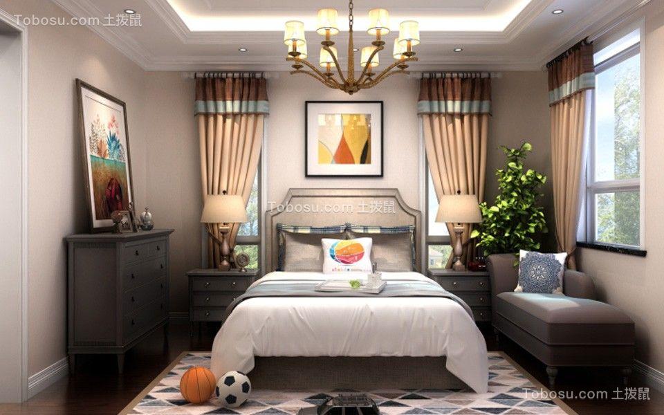 卧室白色吊顶简欧风格装修设计图片