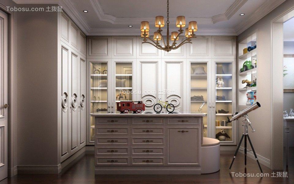 衣帽间白色衣柜简欧风格装饰设计图片