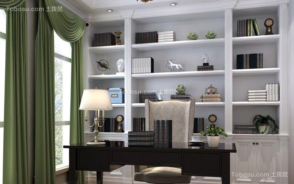 书房绿色窗帘简欧风格装潢设计图片