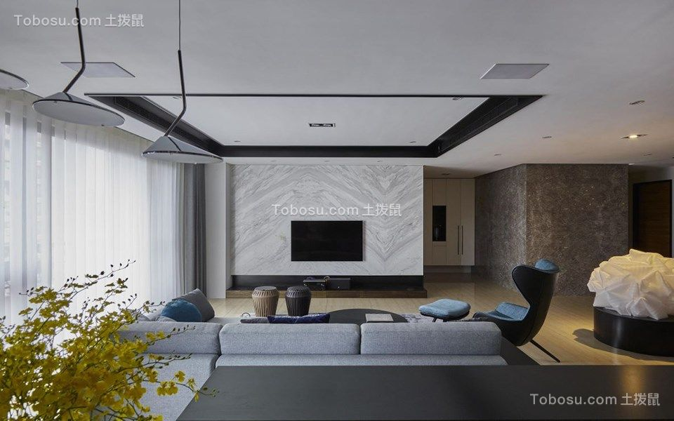客厅灰色电视背景墙混搭风格效果图