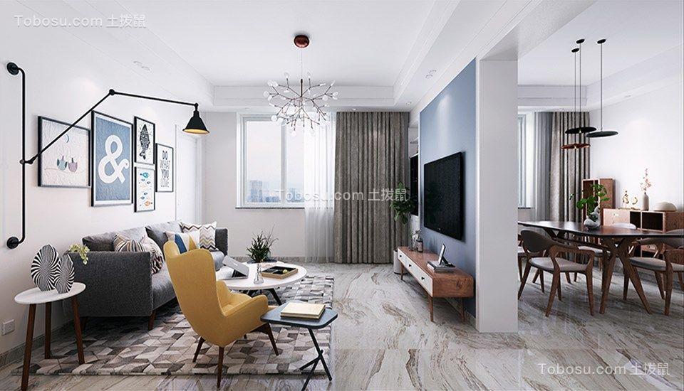 客厅灰色沙发现代简约风格装饰设计图片