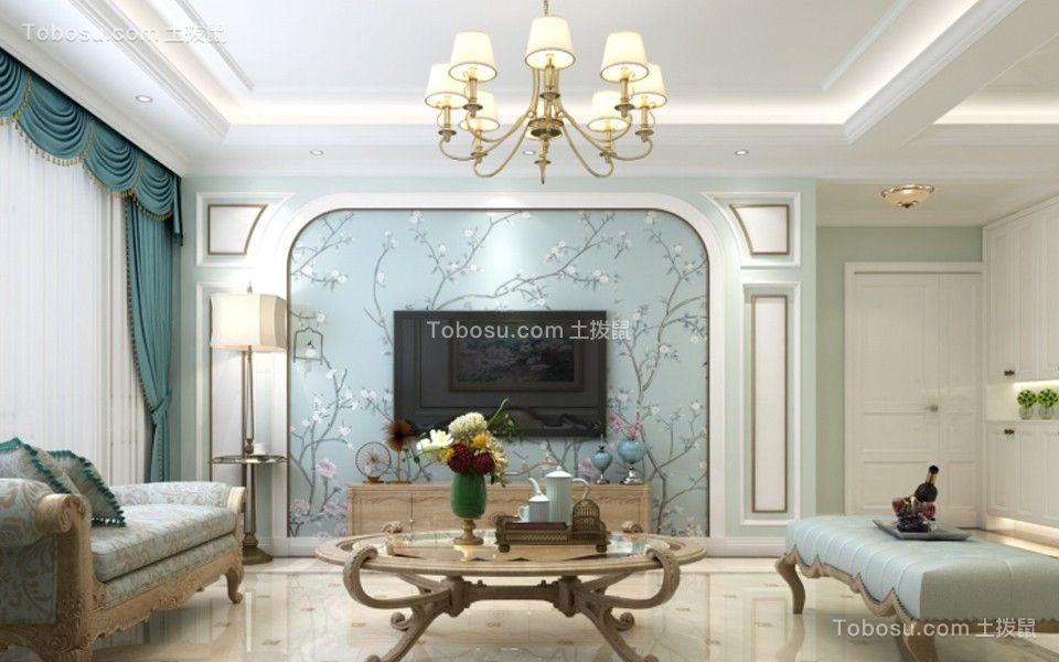 客厅蓝色电视背景墙简欧风格装饰图片