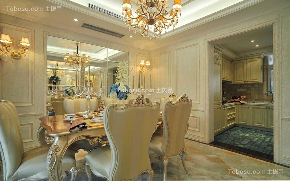餐厅黄色餐桌欧式风格装修设计图片