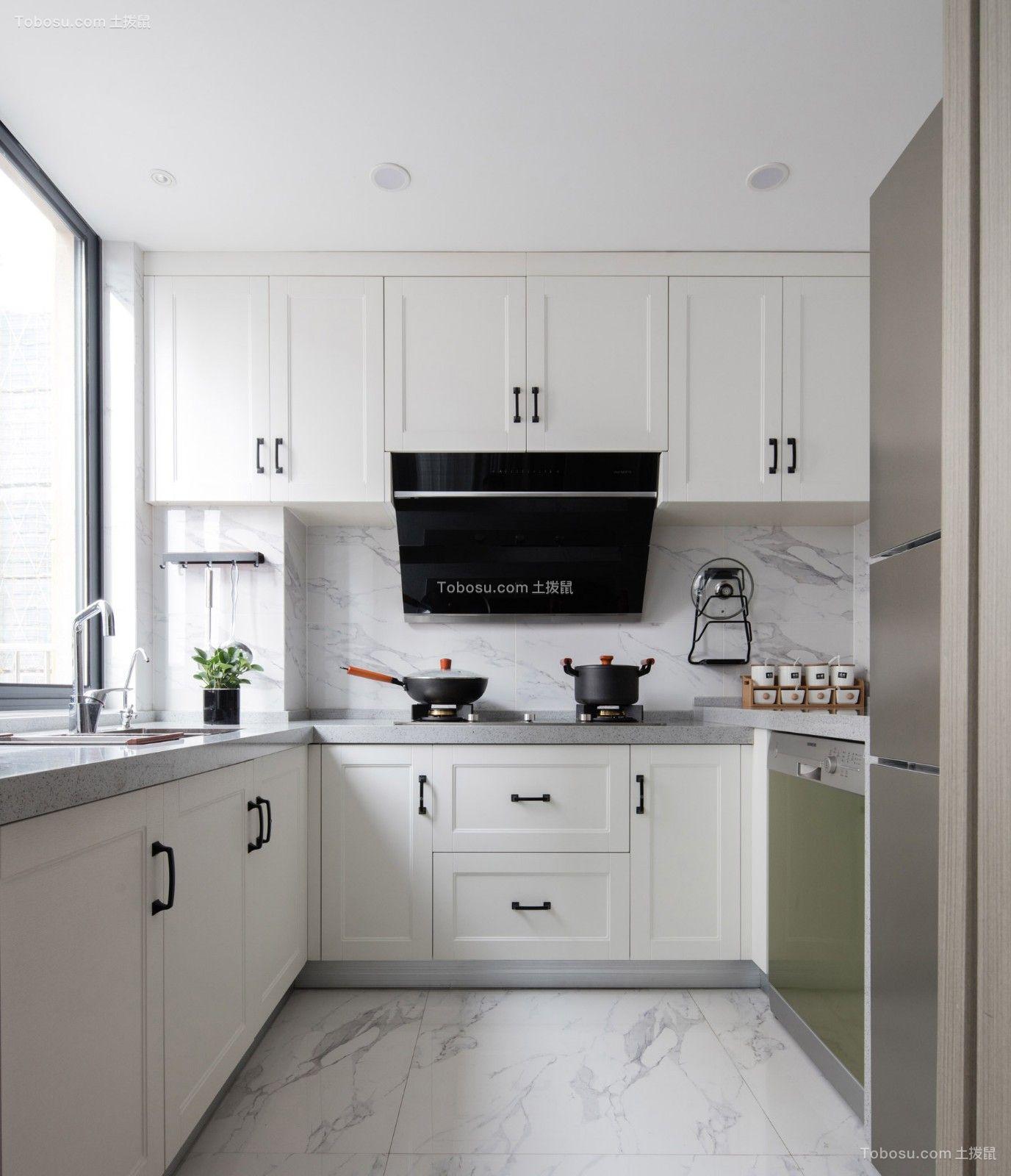 厨房白色橱柜北欧风格装修图片