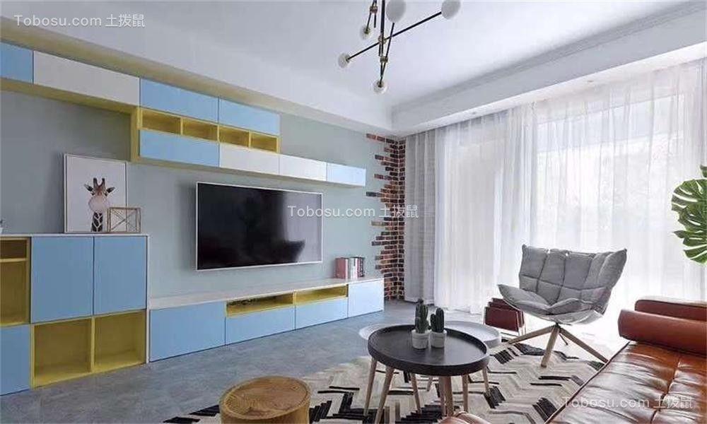 客厅蓝色电视背景墙简约风格装饰效果图