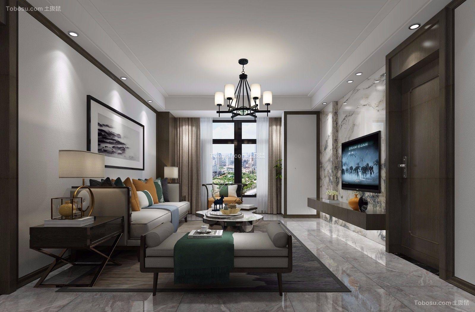 100平新中式风格三居室装修效果图