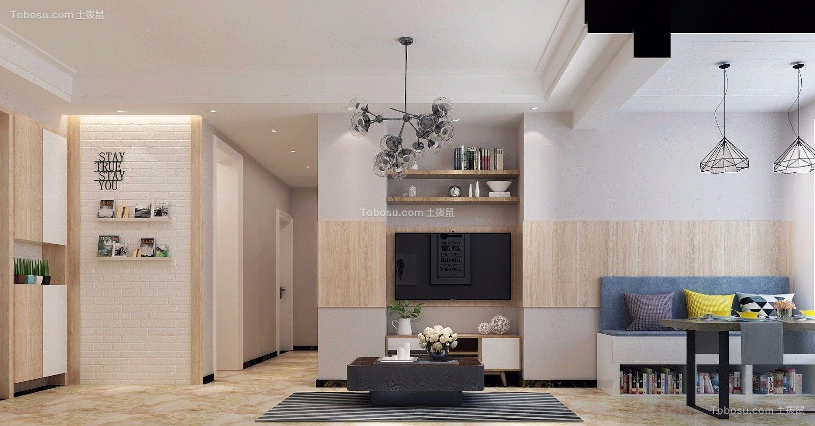 客厅米色电视背景墙北欧风格装潢效果图