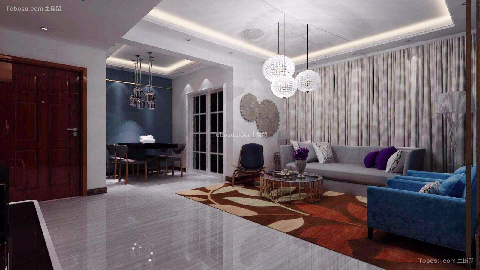 118平现代中式风格三居室装修效果图
