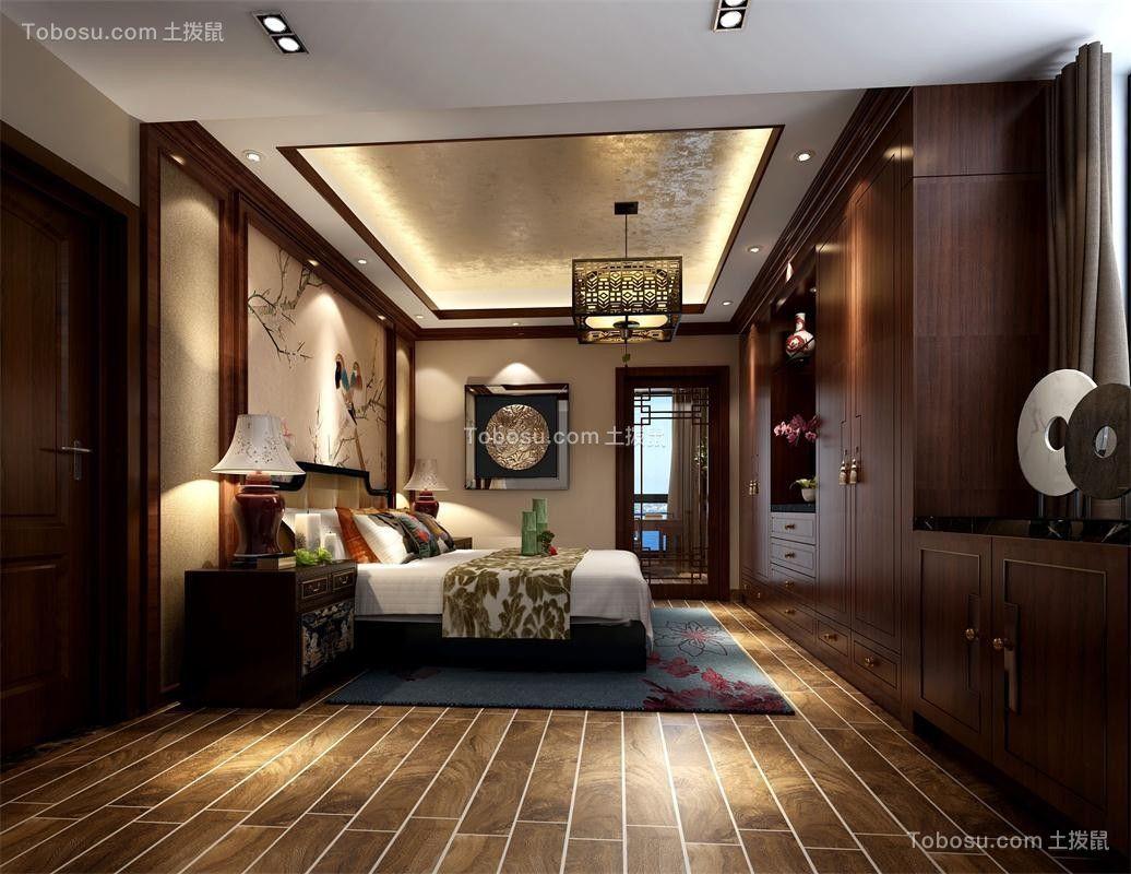 卧室黄色吊顶中式风格装修设计图片