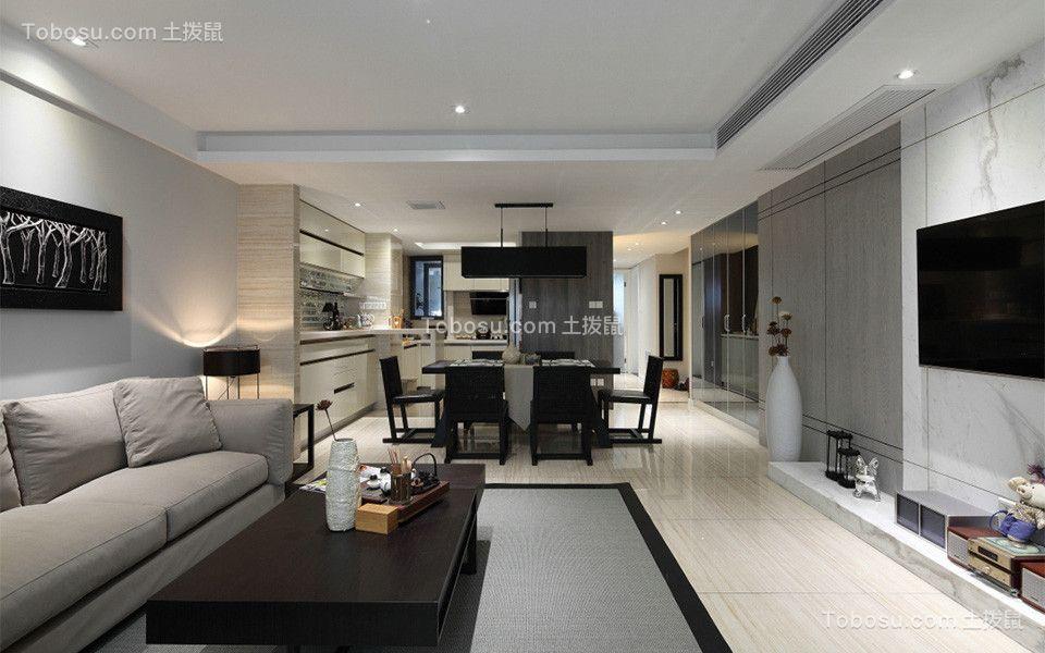 客厅米色地砖混搭风格装饰效果图