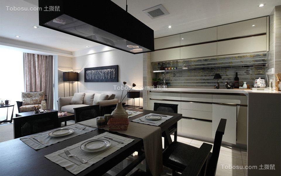 餐厅黑色餐桌混搭风格装修图片