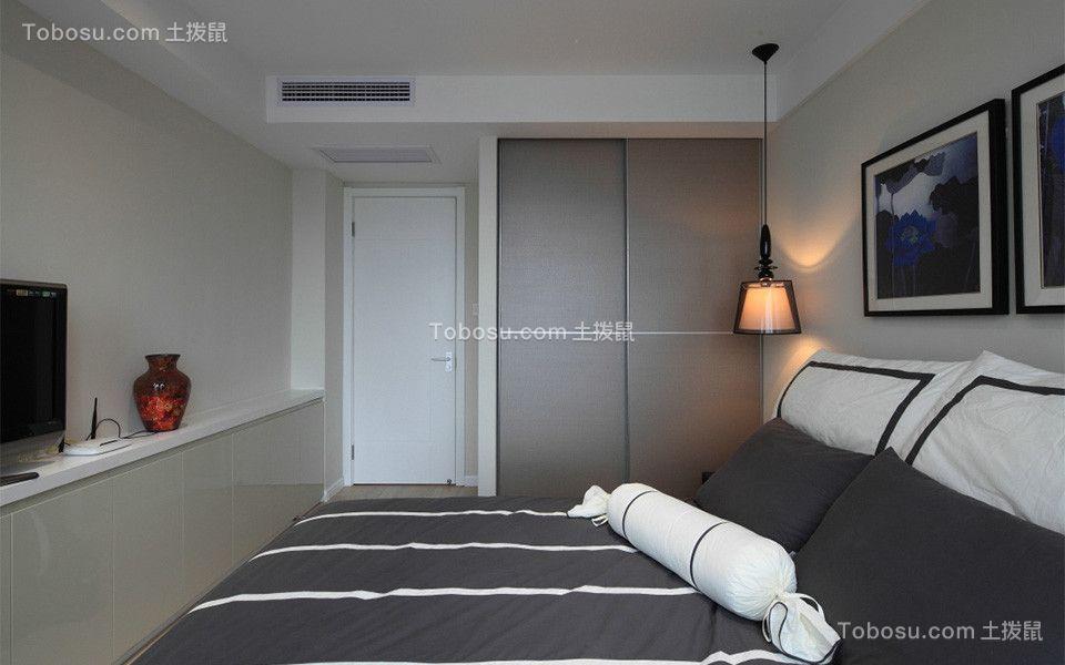 卧室灰色衣柜混搭风格装潢图片