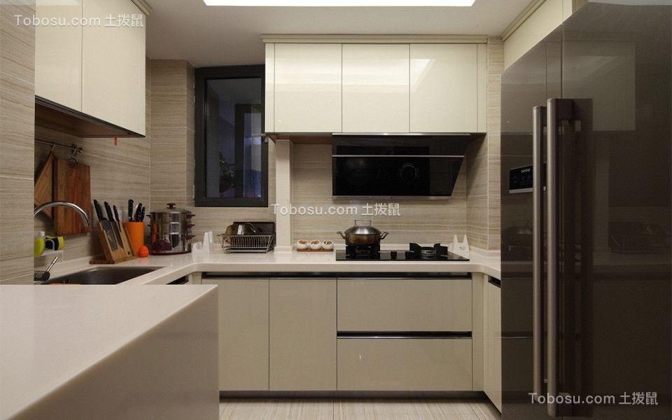 厨房米色橱柜混搭风格装饰设计图片