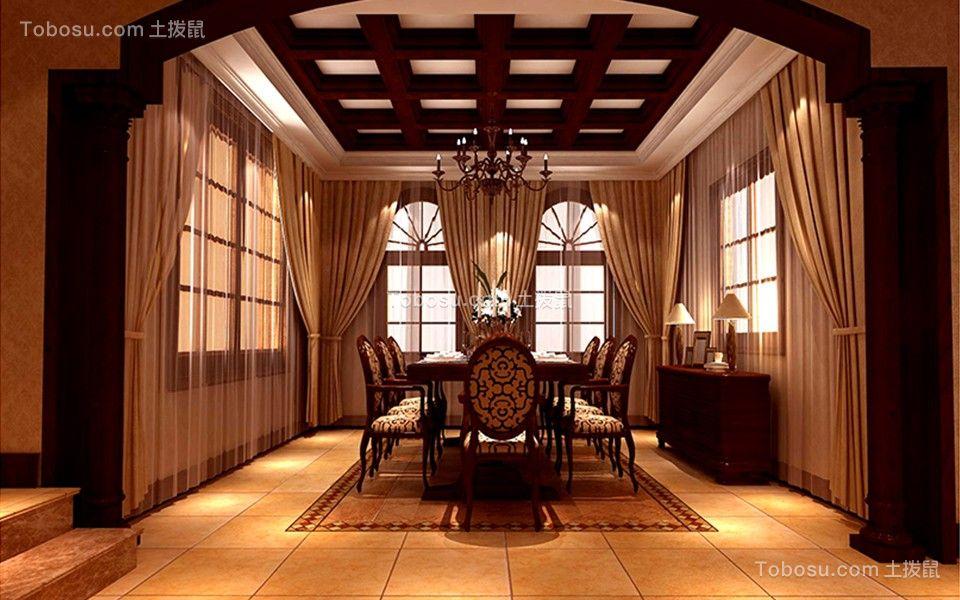 餐厅咖啡色餐桌美式风格装潢设计图片