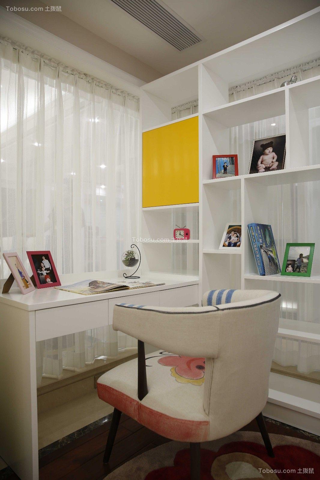 书房白色书桌欧式风格装修效果图