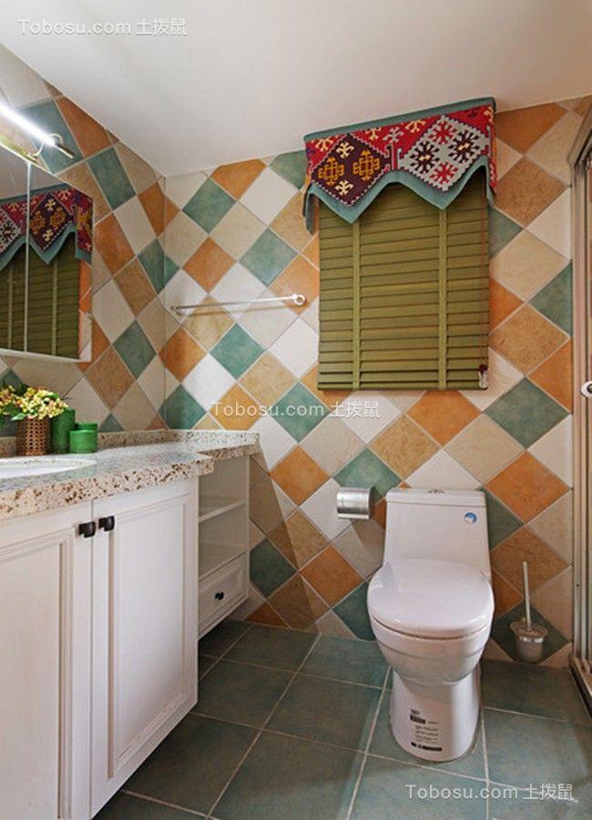 卫生间蓝色地砖美式风格装饰图片