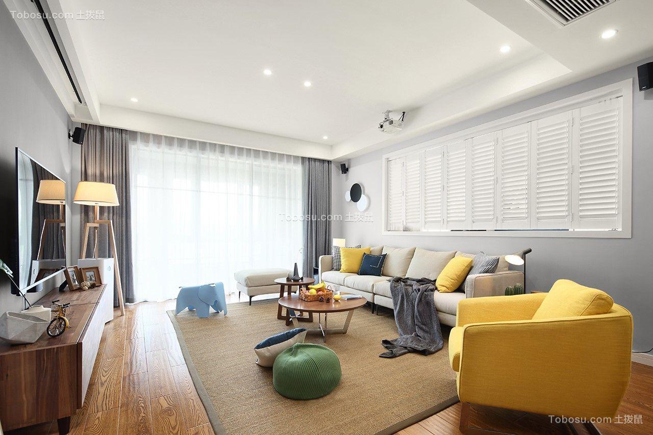 客厅米色沙发北欧风格装饰图片