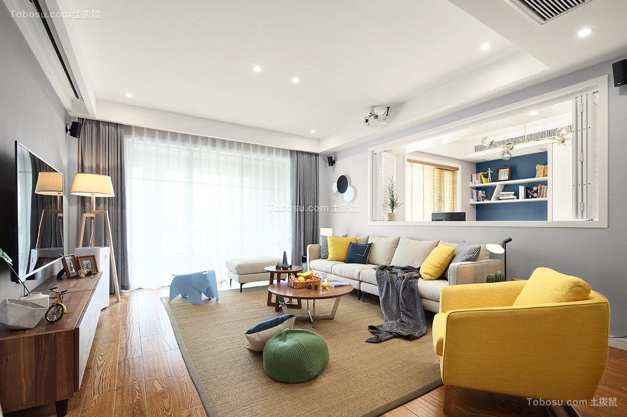 客厅灰色窗帘北欧风格装潢图片
