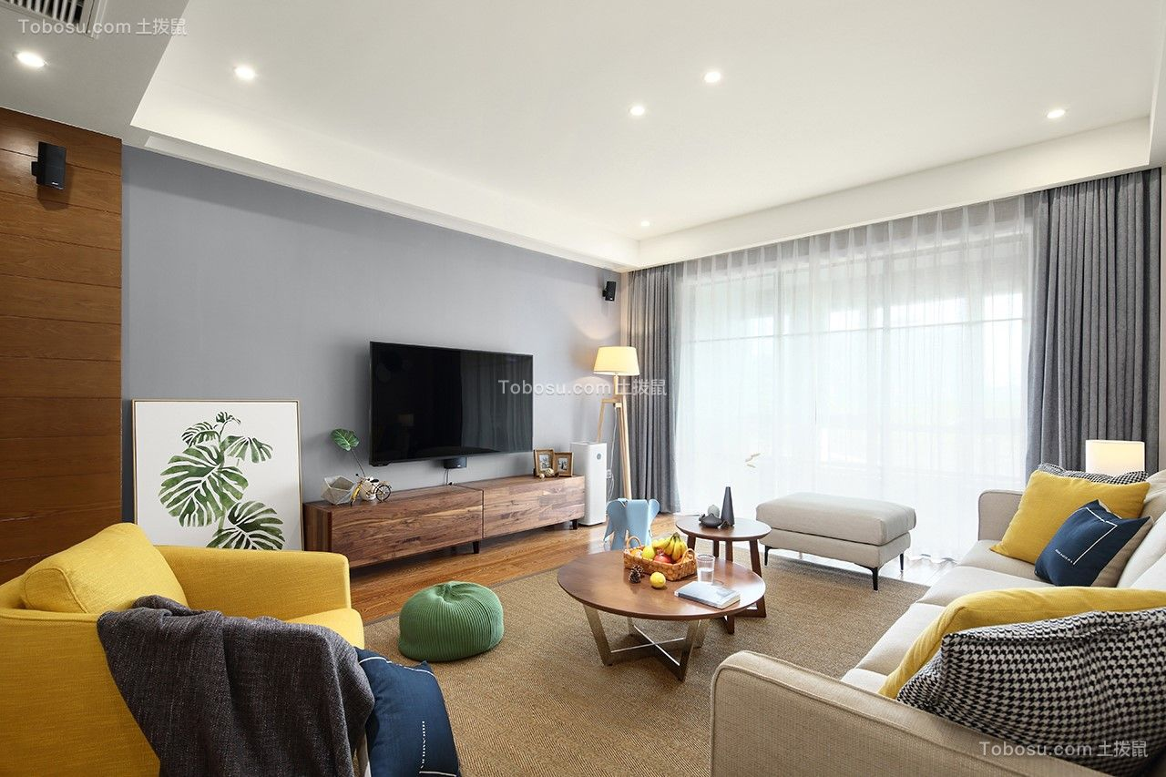 客厅咖啡色电视柜北欧风格装修设计图片