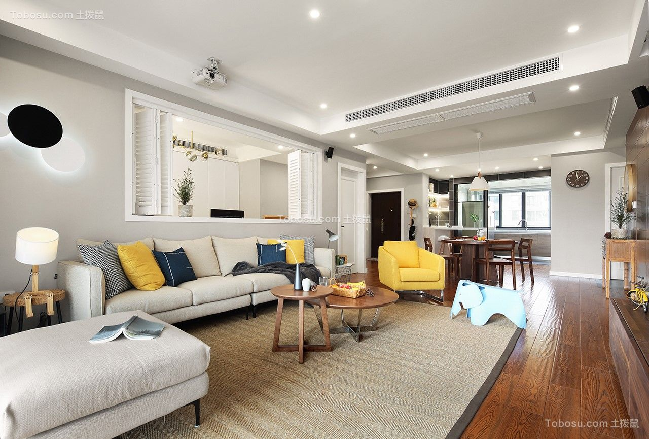 客厅灰色背景墙北欧风格装饰设计图片