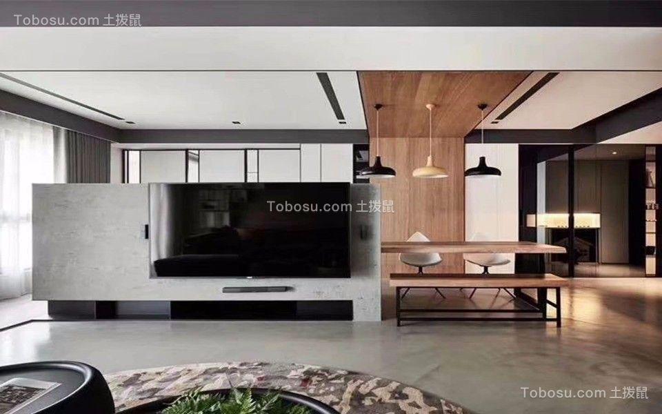 客厅灰色电视背景墙简约风格装潢效果图