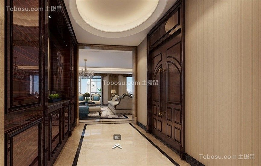 玄关米色地砖美式风格装饰设计图片