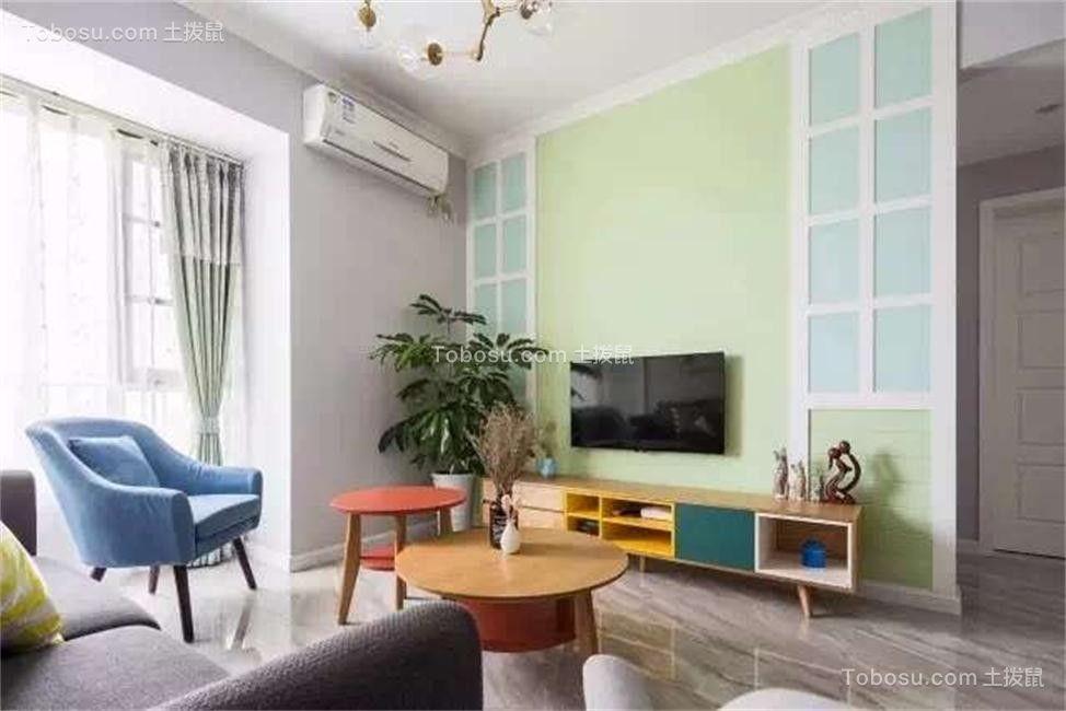 客厅绿色电视背景墙北欧风格装修设计图片