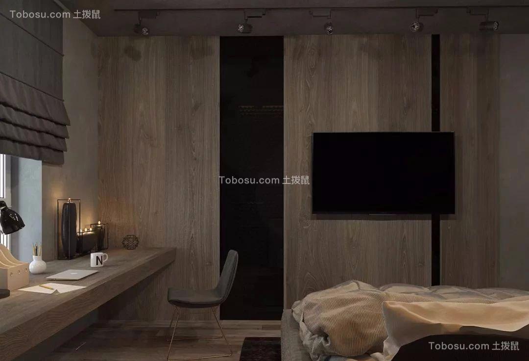 卧室灰色书桌混搭风格装修效果图