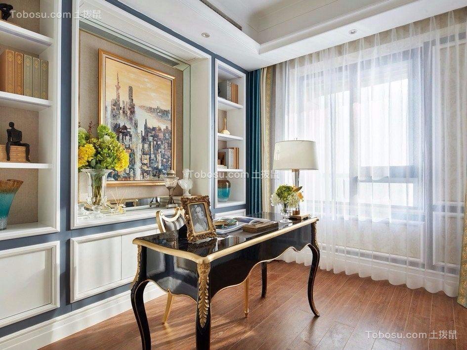 书房黑色书桌简欧风格装潢效果图