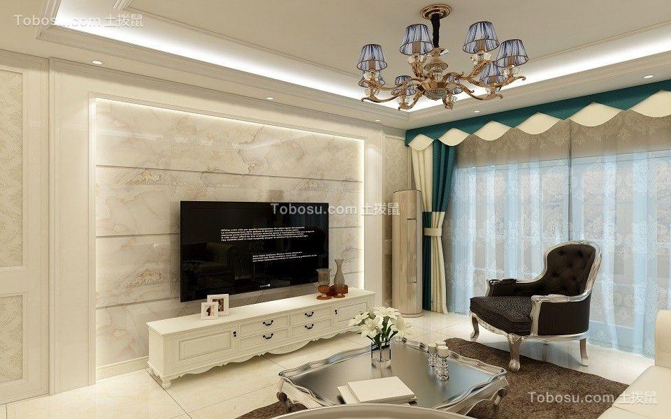 客厅米色电视背景墙简欧风格装饰设计图片