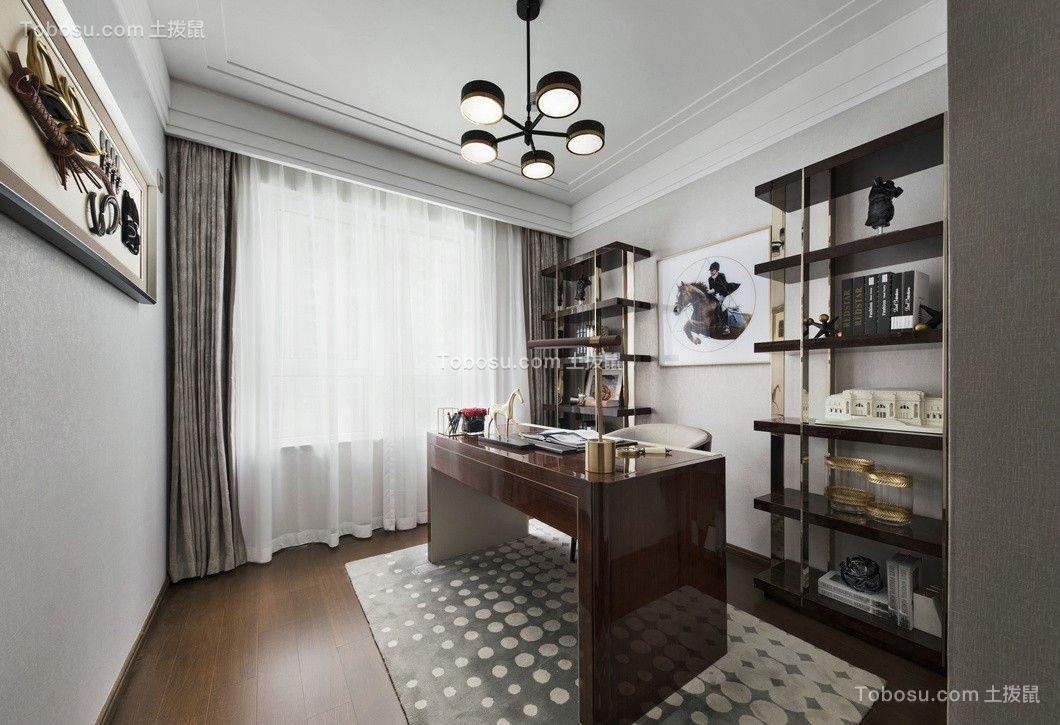 书房咖啡色书桌现代简约风格装修图片