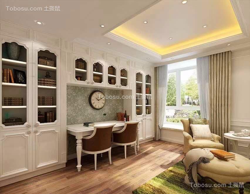 书房白色书桌欧式风格装饰效果图