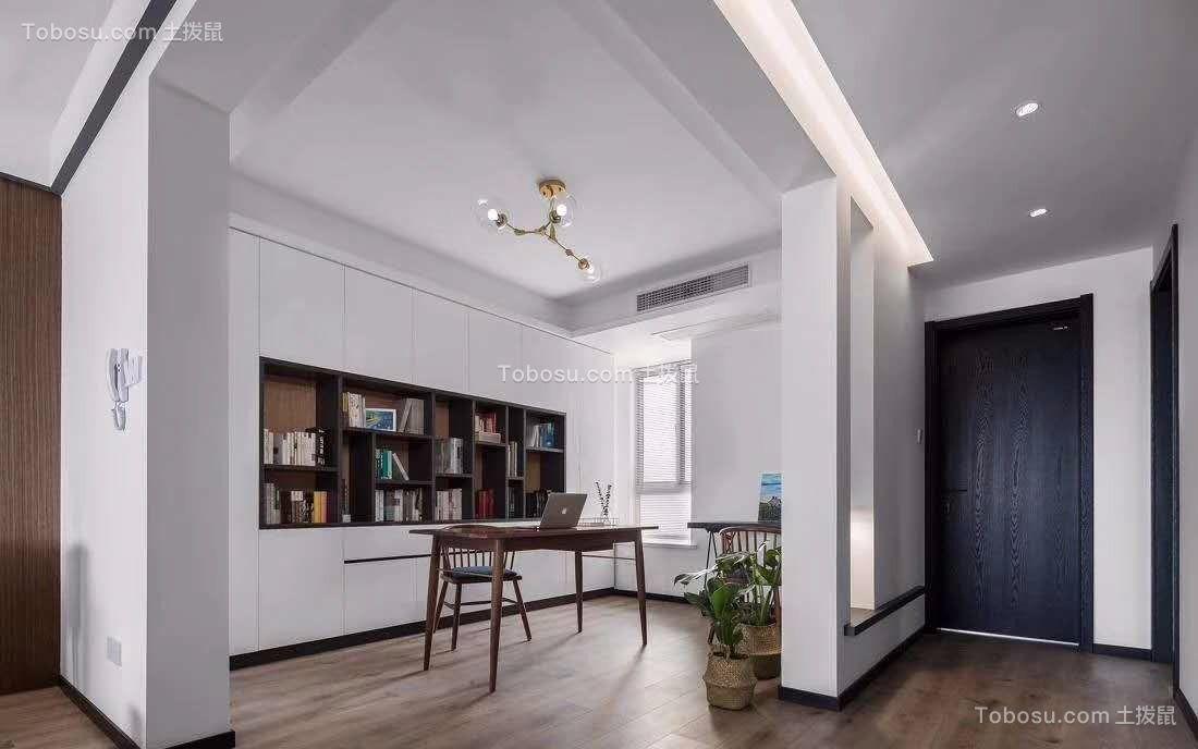书房咖啡色书桌简约风格装修效果图