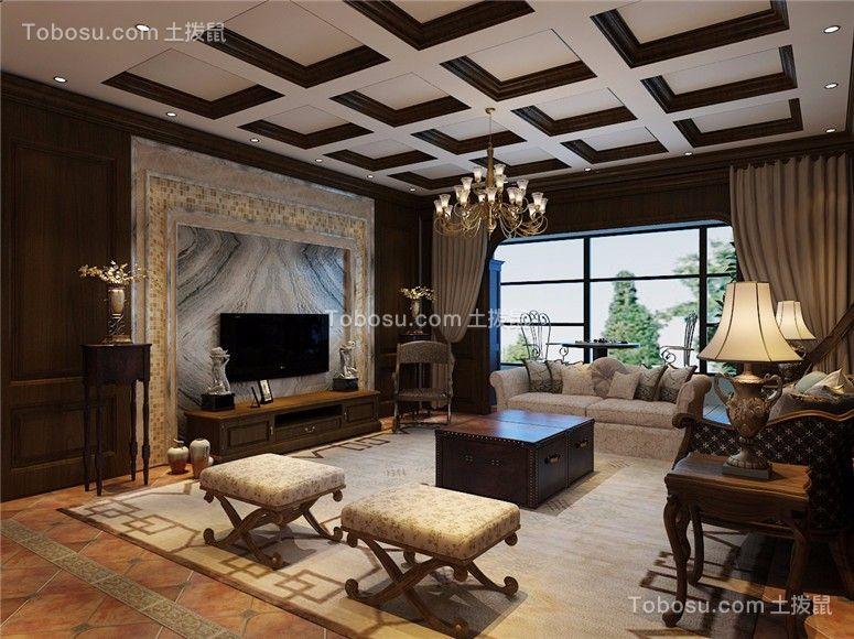 132平美式风格三居室装修效果图