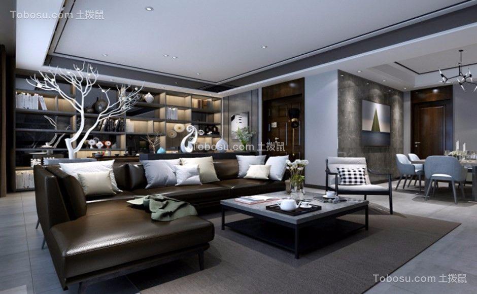 129平现代中式风格两居室装修效果图