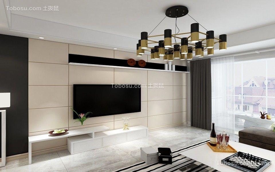 客厅米色电视背景墙北欧风格装潢图片