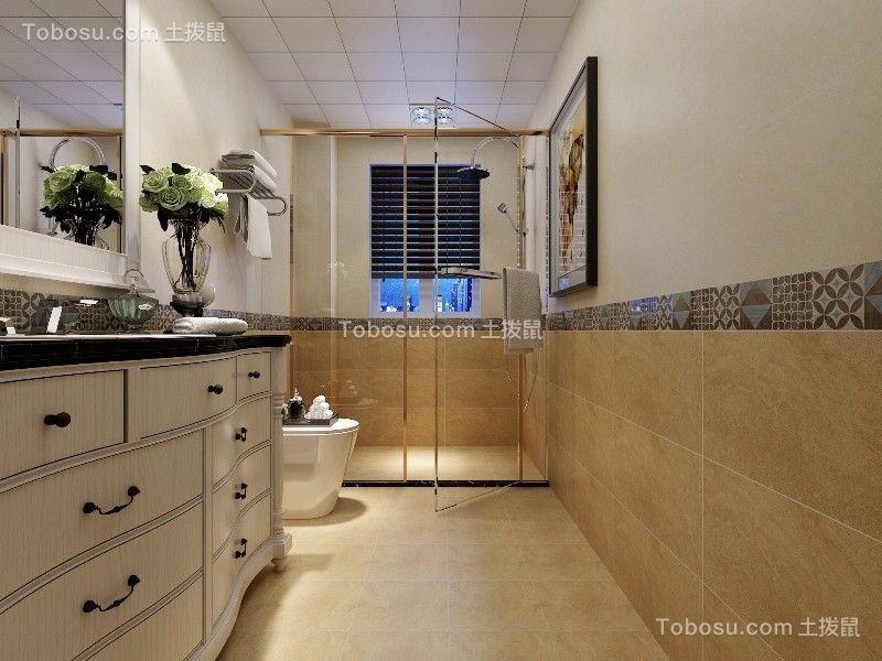 卫生间黄色地砖美式风格效果图