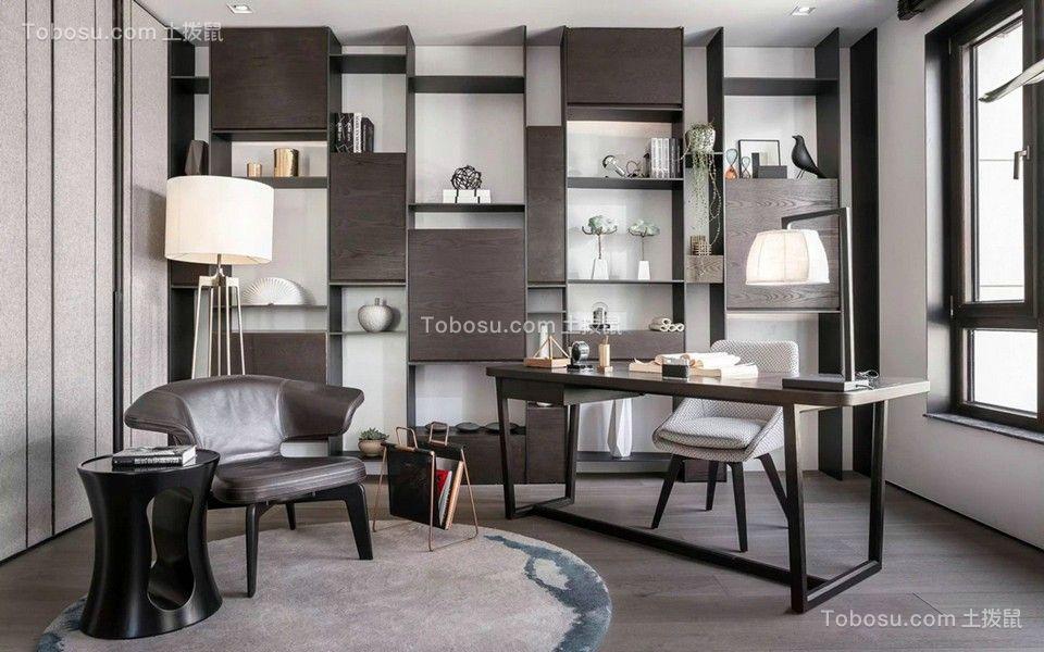 书房黑色书桌简约风格装饰图片