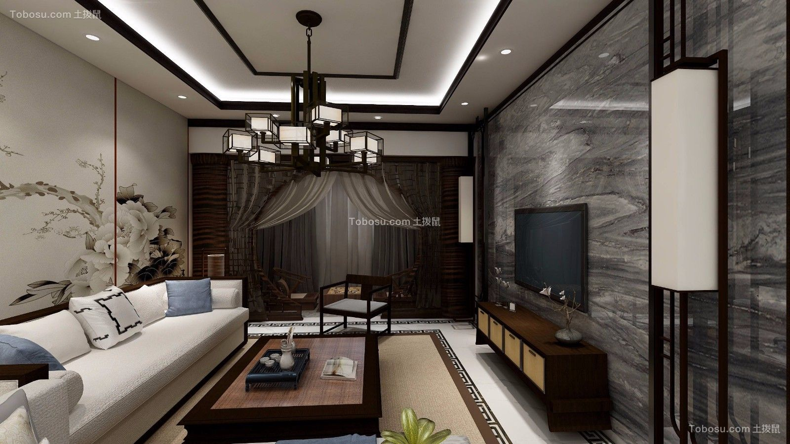 昆明润城127平米中式风格效果图