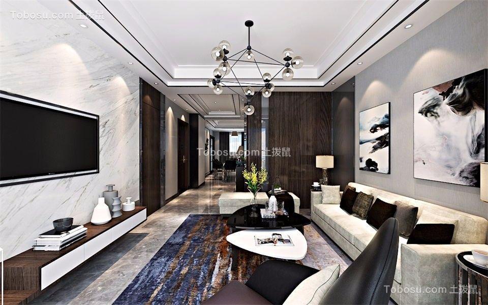 173平后现代风格三居室装修效果图