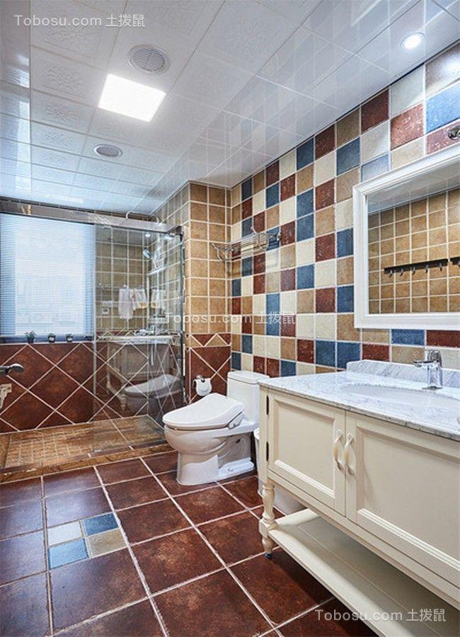 卫生间咖啡色地砖美式风格装潢设计图片