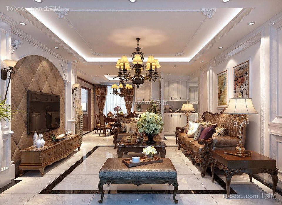 169平美式风格三居室装修效果图