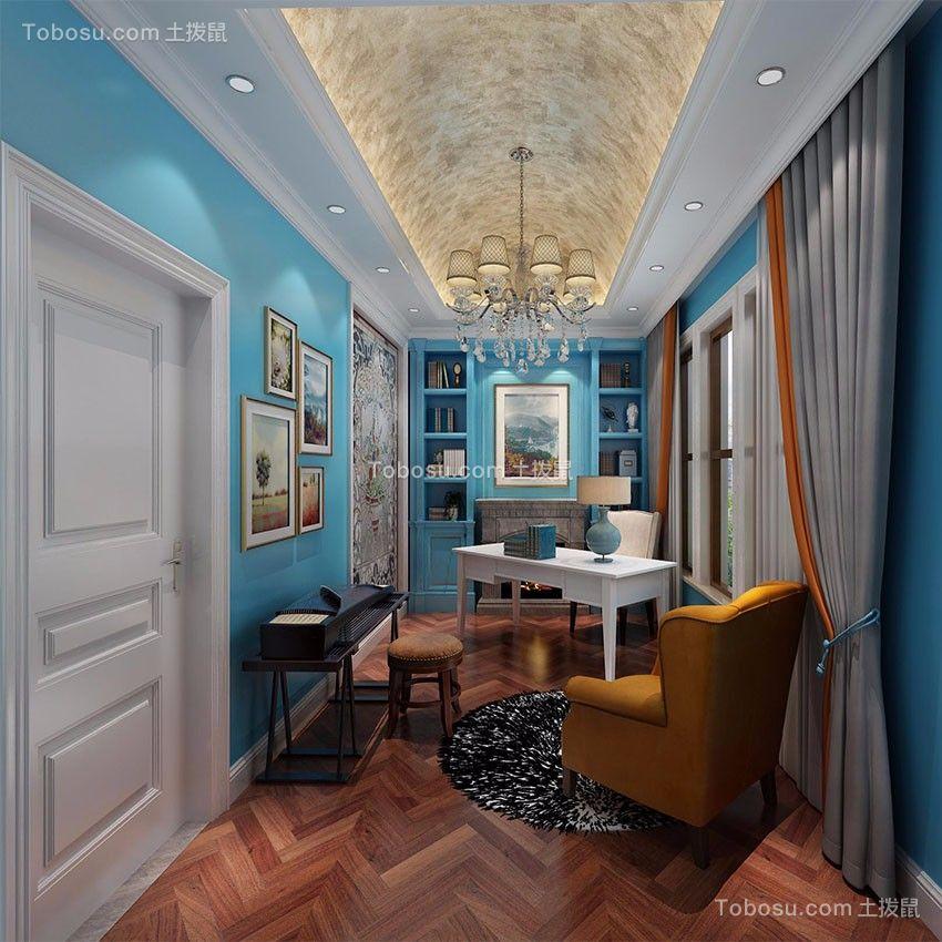 书房白色书桌欧式风格装修图片