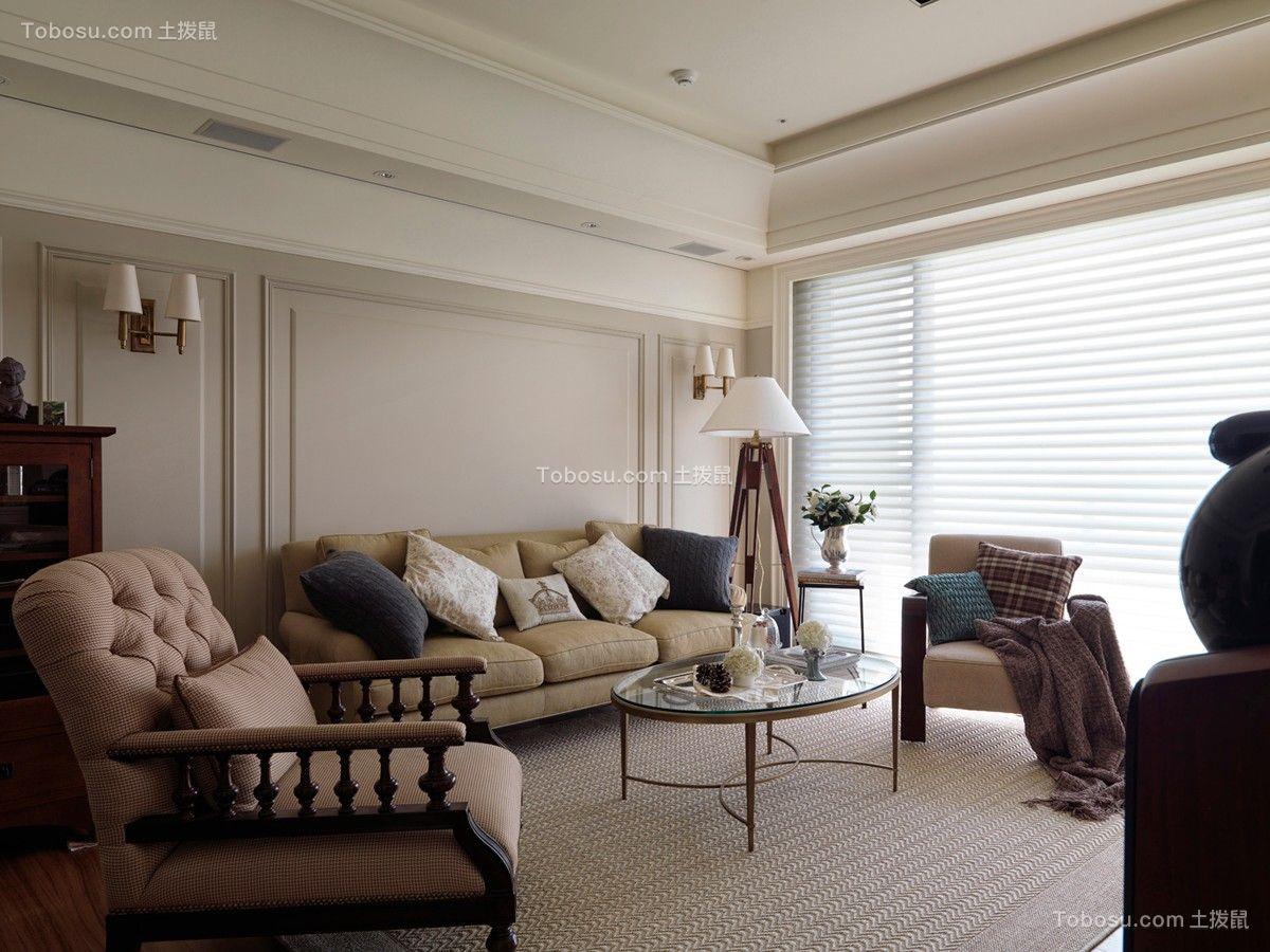 客厅黄色沙发美式风格装潢图片