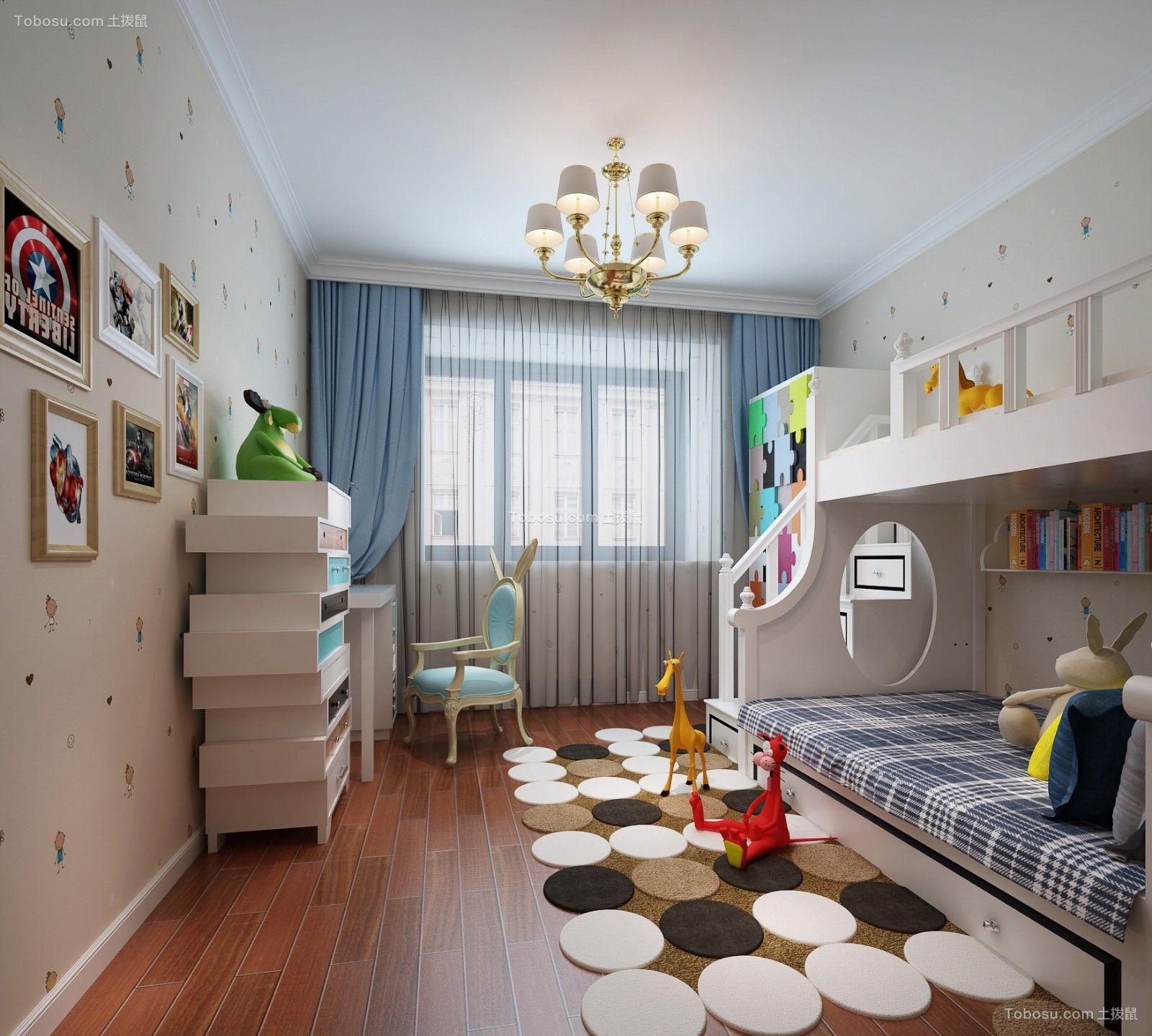 儿童房米色床简欧风格装潢图片