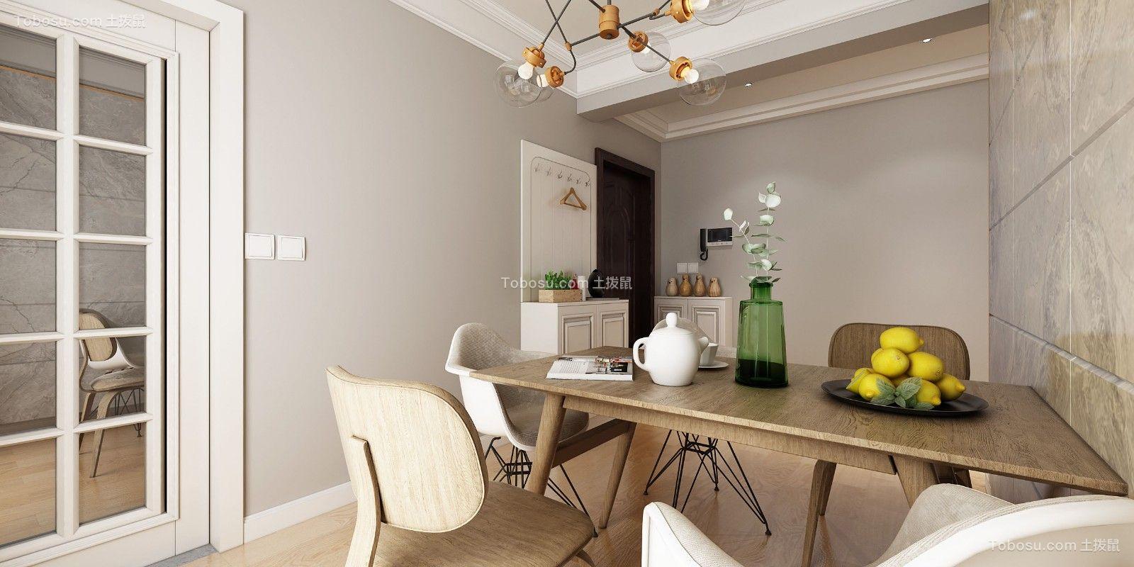 餐厅咖啡色餐桌简欧风格装饰设计图片