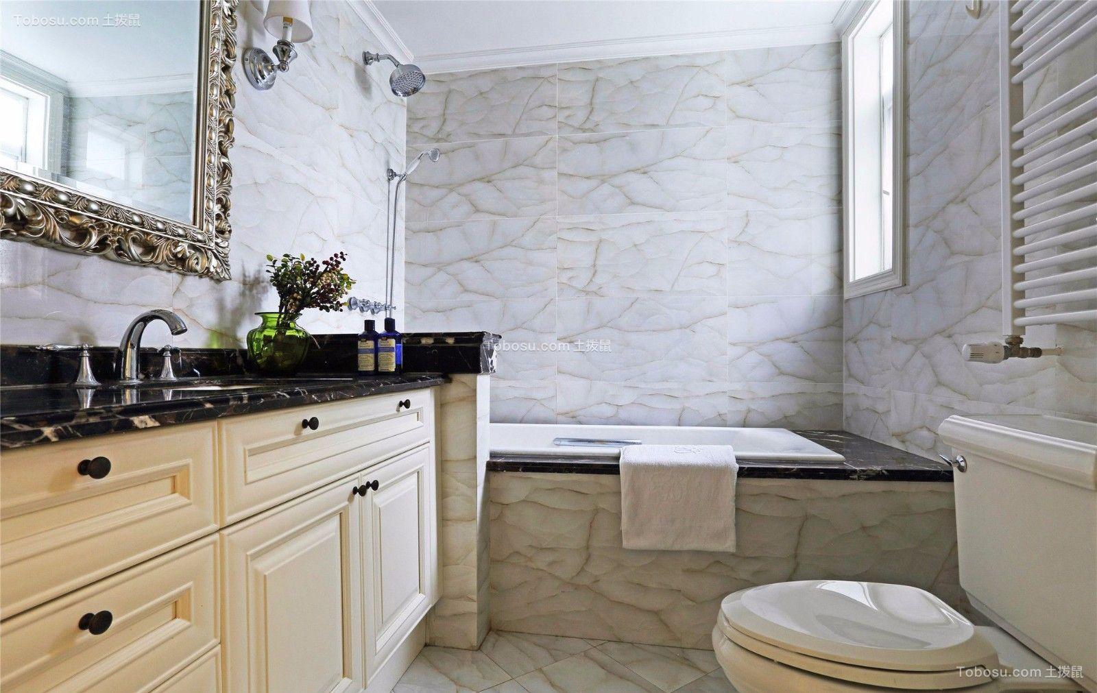 卫生间黑色洗漱台美式风格装饰效果图