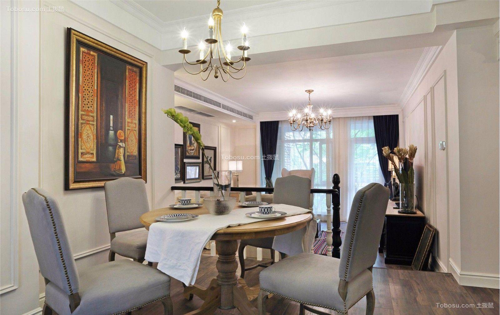 餐厅黄色餐桌美式风格装修设计图片