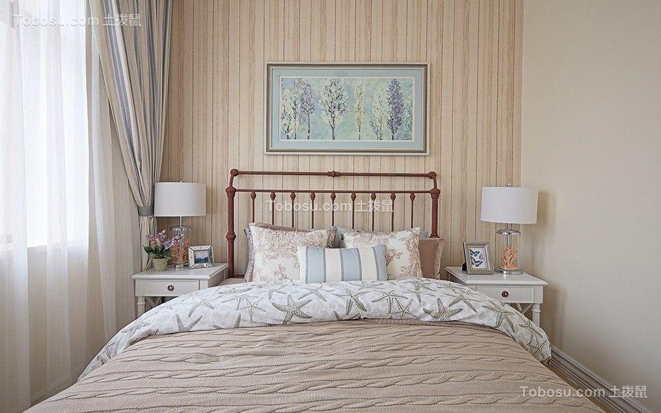卧室米色背景墙地中海风格装饰设计图片