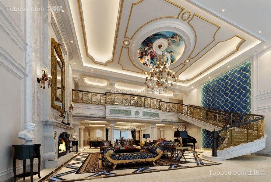 客厅米色吊顶美式风格装潢设计图片